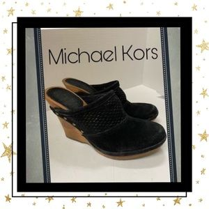 "Michael Kors ""Romp"" Black Suede Leather Clogs 6.5"